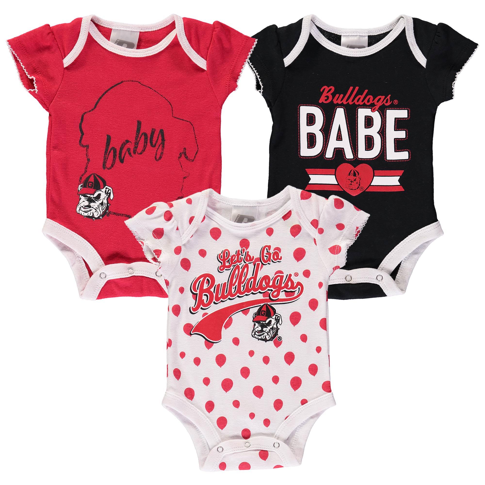 Girls Newborn & Infant Russell Red Georgia Bulldogs Three-Pack Bodysuit Set