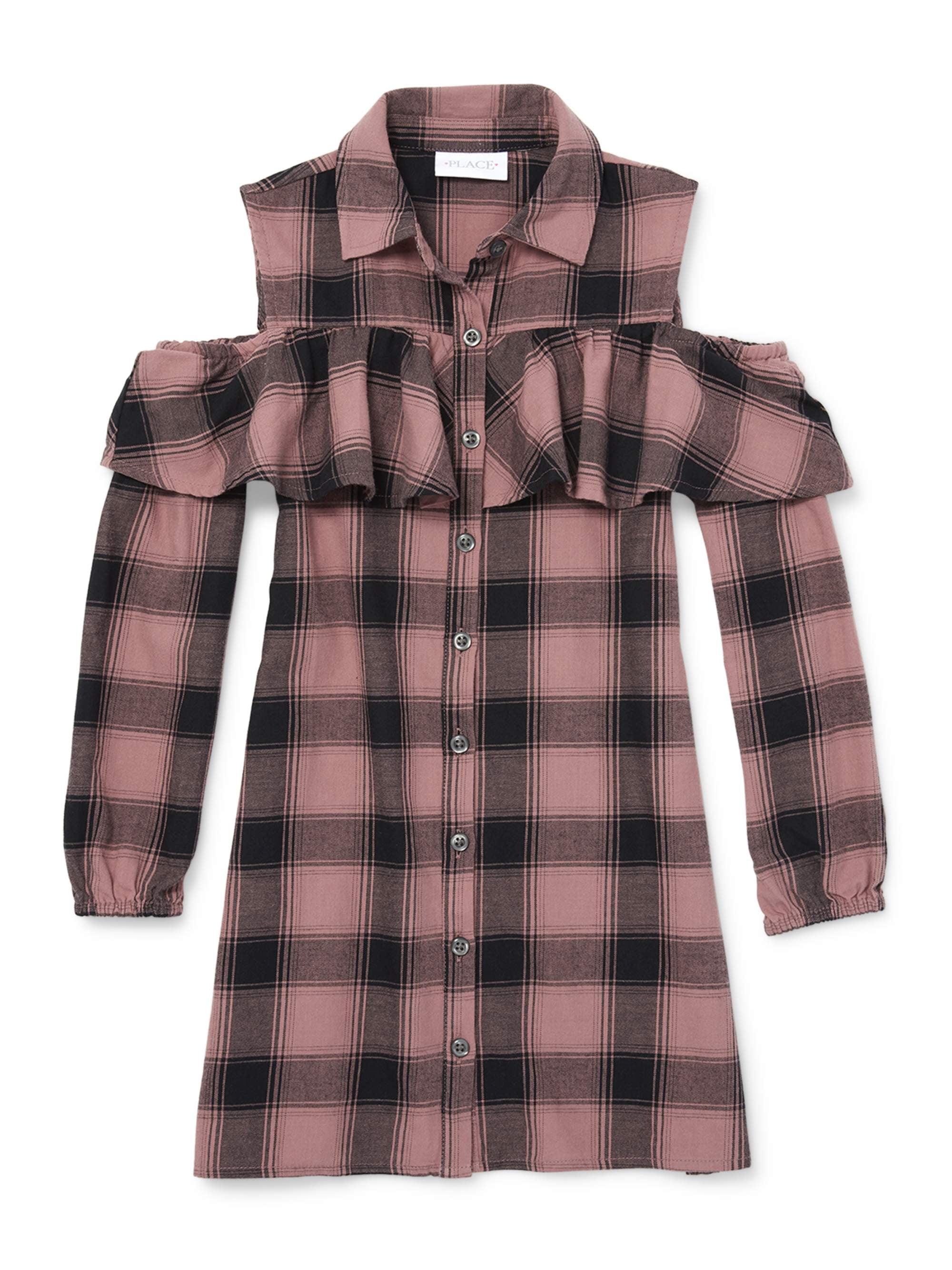 The Children's Place Cold Shoulder Plaid Button Shirt Dress
