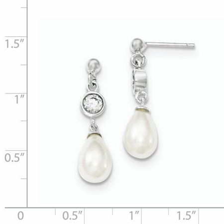 Sterling Silver Polished Freshwater Cultured Pearl &CZ Post Dangle Earrings QE9323 - image 1 of 2