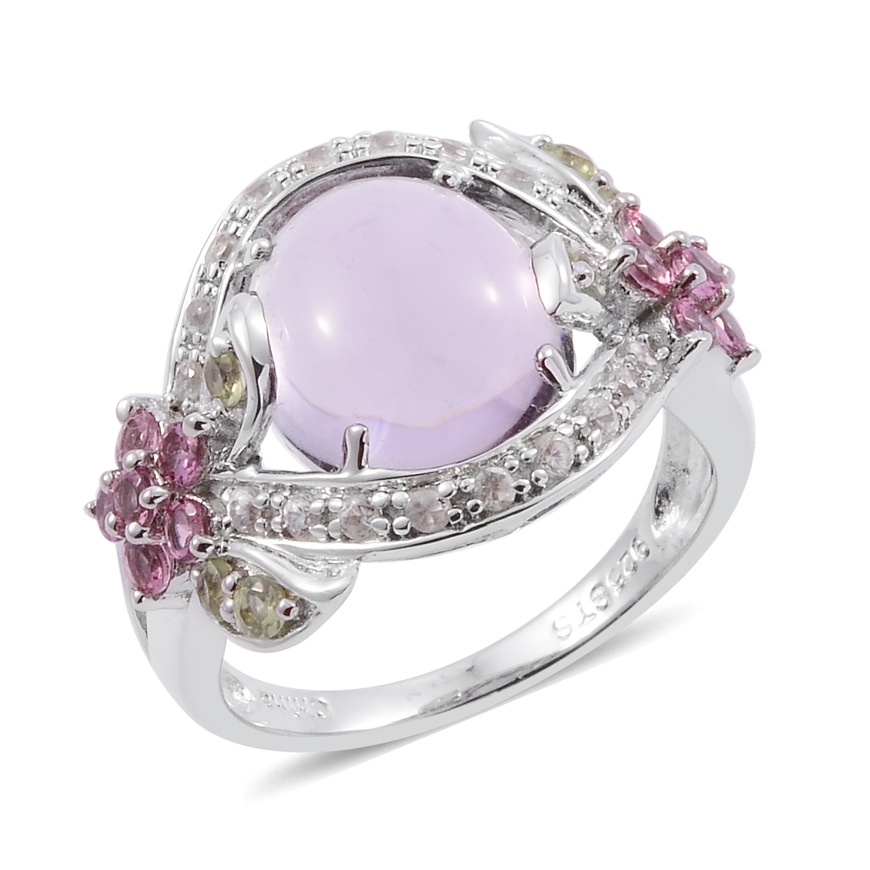 Pink Amethyst Multi Gemstone Platinum Plated 925 Sterling Silver Fashion Ring For Women Size 7 by Shop LC