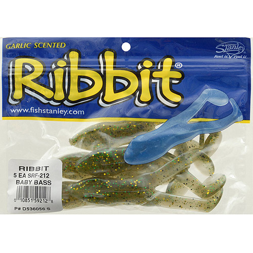 "Stanley 4"" Ribbit Rubber Frog Fishing Lure, 5 pack"