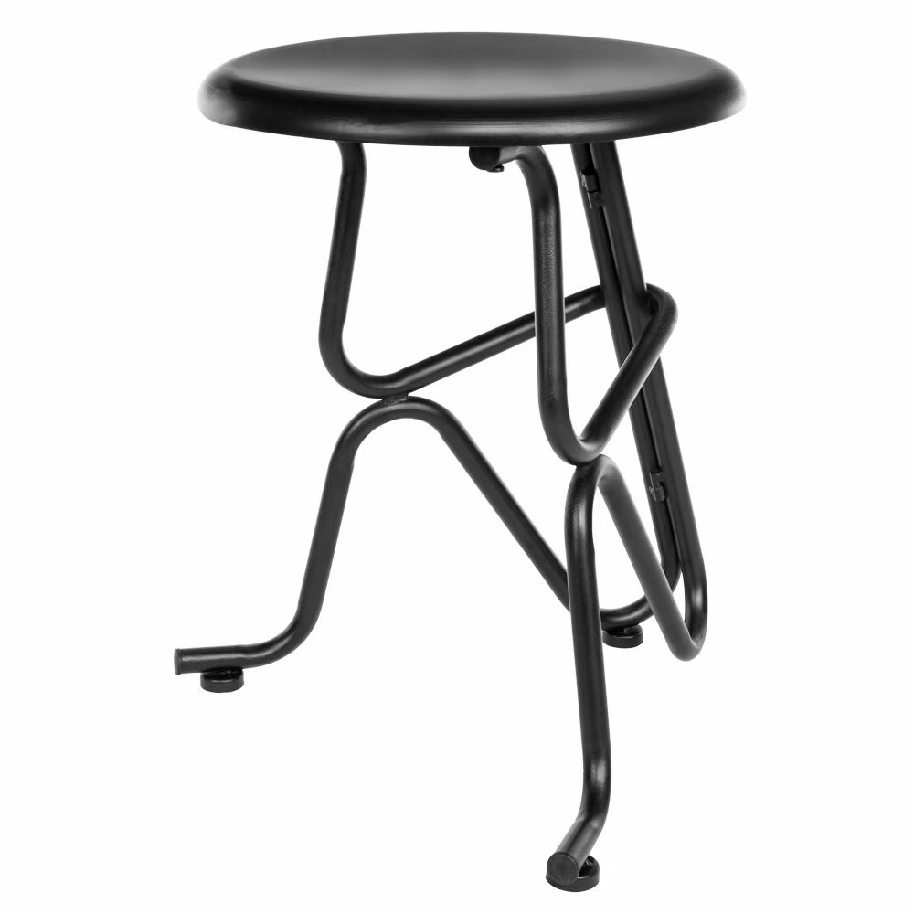 Clearance!Creative Human Shaped Non-foldable Round Iron Stool Black