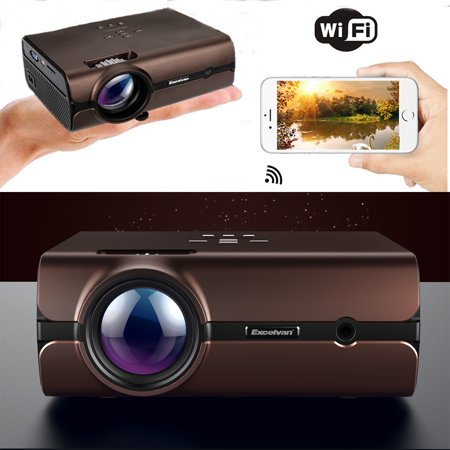 Excelvan Mini Projector, Android 6.0 Multimedia LCD Projector Support bluetoooth 4.0 1080P wirelless Connection With smart-phone ta blet Many Interfaces For PC Game Console