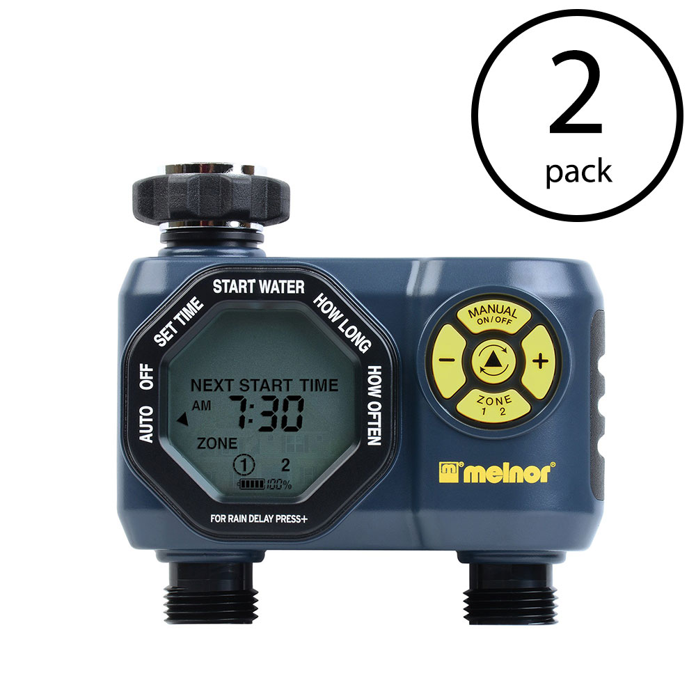 Melnor Digital Double Programmable Water Timer & Controller for Garden (2 Pack)