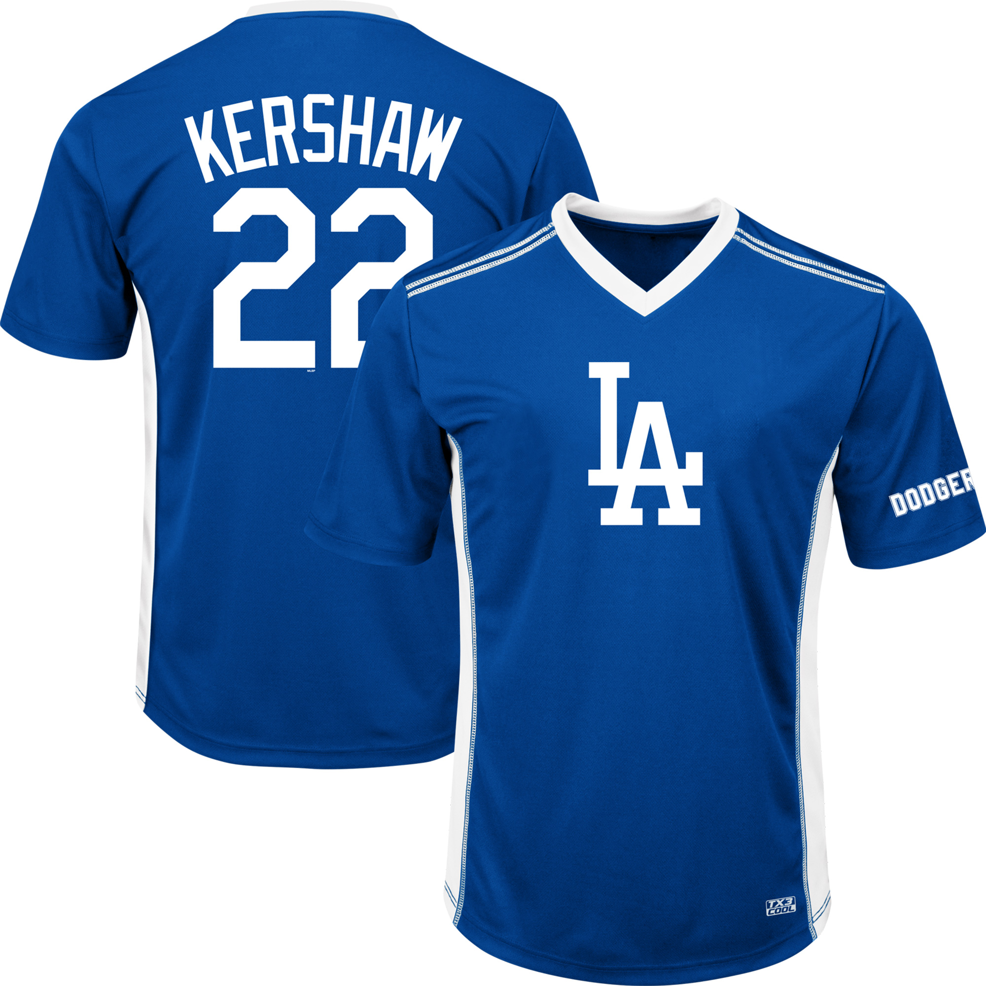 Men's Majestic Clayton Kershaw Royal Los Angeles Dodgers Player Name & Number Cool Base V-Neck T-Shirt by MAJESTIC LSG