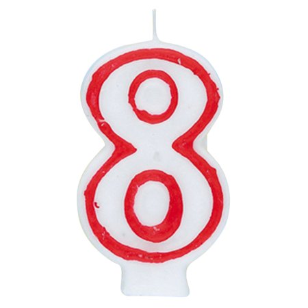 Number 8 Birthday Candle 275 In Red And White 1ct