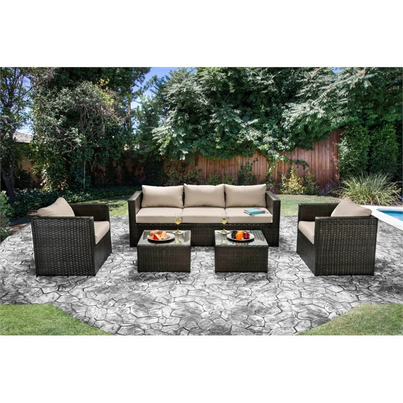 Furniture of America Marvin 5 Piece Patio Sofa Set in Ivory