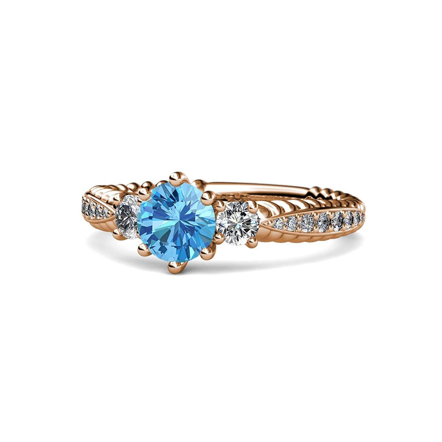 Blue Topaz and Diamond Three Stone Ring with Diamond on Side Bar 1.55 cttw 14K Rose Gold.size 5.5 by TriJewels