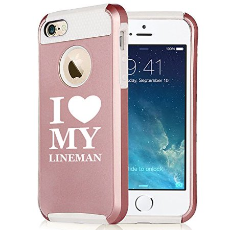 For Apple iPhone 6 6s Rose Gold Shockproof Impact Hard Soft Case Cover I Love Heart My Lineman (Rose