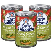 (3 Pack) Early California Fresh Cured Green Ripe Medium Olives, 6 Oz