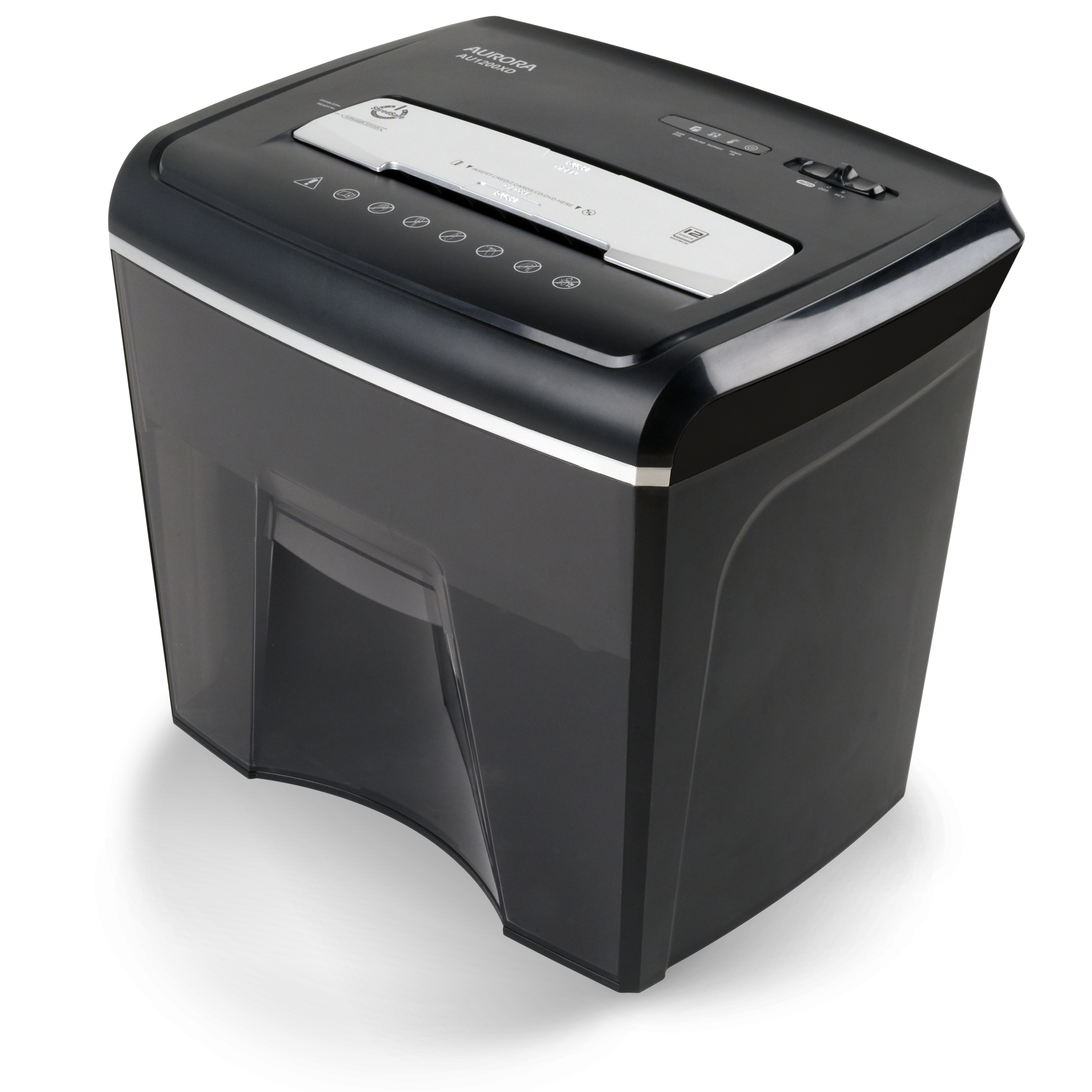 Aurora Compact Desktop-Style 12-Sheet Crosscut Paper and CD/Credit Card/ Junk Mail Pullout Basket Shredder