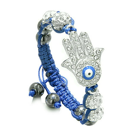 Evil Eye Protection Amulet Magic Eye Hamsa Hand Bracelet with Blue Cord Simulated Hematite Power Beads
