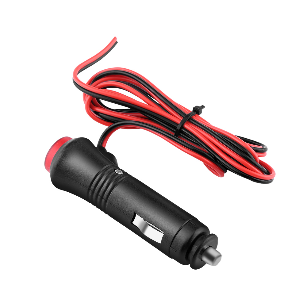 1.5m Male Car 12V 24V Cigarette Lighter Socket Power Supply Plug Adapter Plug Cable with Switch Button Built-in Fuse