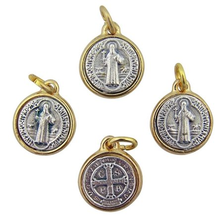Gold and Silver Two Tone Saint Benedict Medal Pendant, Set of 4, 3/4 Inch (Set On Pendant Medal)