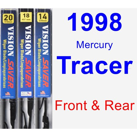 1998 Mercury Tracer Wiper Blade Set/Kit (Front & Rear) (3 Blades) - Vision Saver 1998 Mercury Tracer Rubber