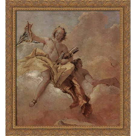 Apollo And Diana 28X30 Large Gold Ornate Wood Framed Canvas Art By Giovanni Domenico Tiepolo