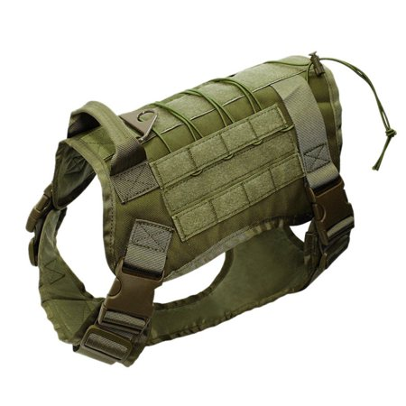 Tactical Police-K9 Military Training Dog Harness Adjustable Molle Nylon