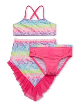 Wonder Nation Baby Toddler Girl Mermaid Bikini Swimsuit & Skirt, 3pc Set