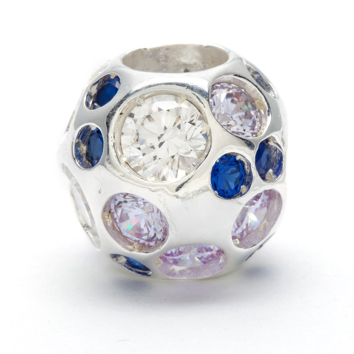 Metal Marketplace International Sterling Silver Blue and Clear Crystal Bead