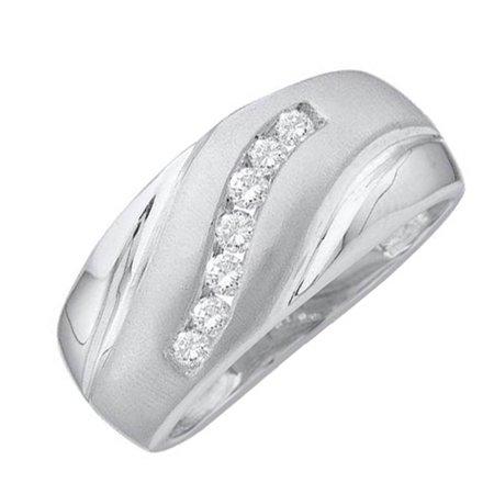 Mens White Gold Round Brilliant Cut Channel Set Diamond Wedding Band 0.25CT