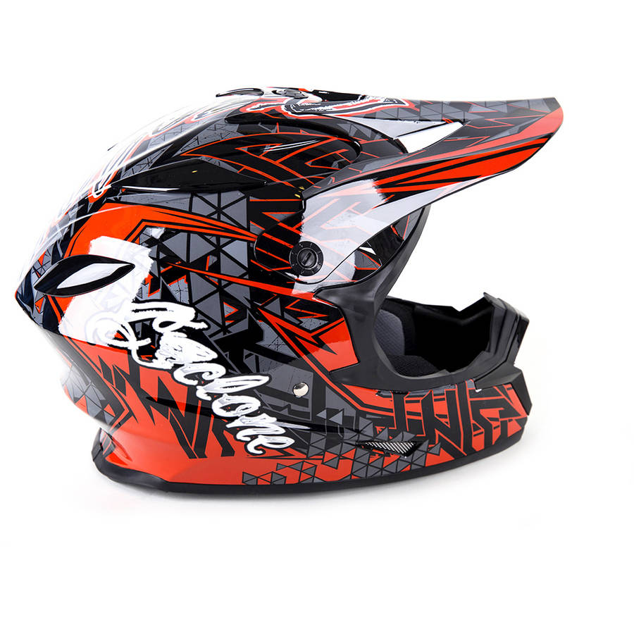 Cyclone ATV MX Motorcross Dirt Bike Quad Offroad Helmet, Youth Red