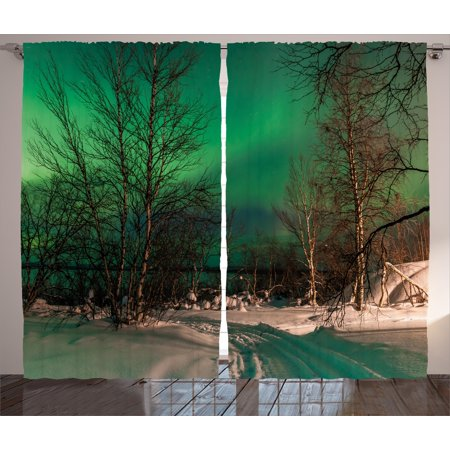 Northern Lights Curtains 2 Panels Set  Snowy Frozen Road Path Between Leafless Trees Finland Park  Window Drapes For Living Room Bedroom  108W X 84L Inches  Jade Green Brown White  By Ambesonne