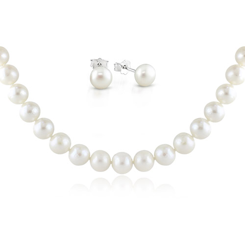 """8-9mm Cultured Freshwater Pearl Sterling Silver Stud Earrings & 10-11mm Cultured Freshwater Pearl Necklace, 18"""""""