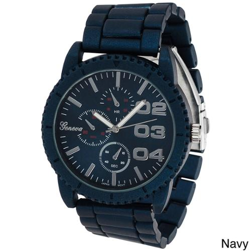 Geneva Platinum Men's Chronograph-style Metal Link Watch Navy