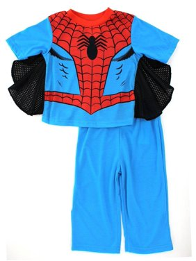Spider-Man Boys Pajama Blue Poly Short Sleeve Top with Cape and Lounge Pants Set, Light Blue/Red, Size: 2T