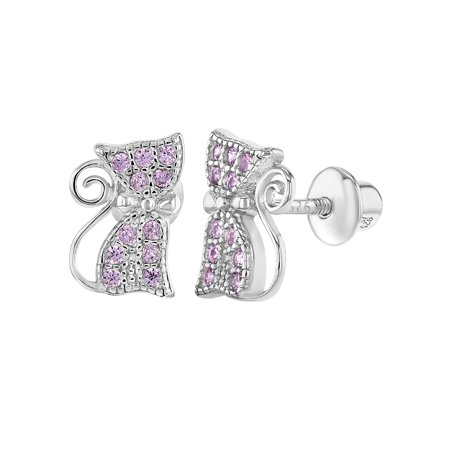 In Season Jewelry 925 Sterling Silver Pink CZ Safety Screw Back Cat Earrings for Girls Teens