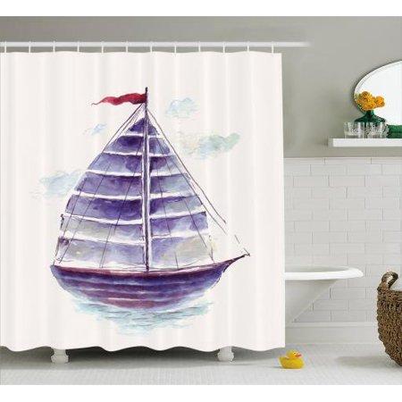 Vintage Boat Shower Curtain Watercolor Art Vibrant Retro Ship Antique Victorian Marine Coastal Charm