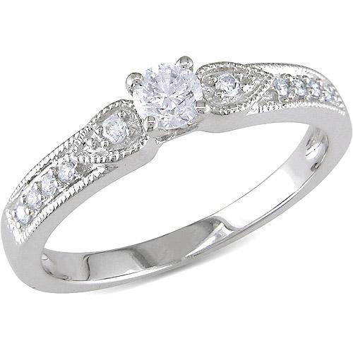 Miabella 1/3 Carat T.W. Diamond 10kt White Gold Engagement Ring