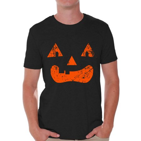 Awkward Styles Jack-O'-Lantern Pumpkin Tshirt Halloween Shirts for Men Holiday Gifts Halloween Pumpkin Shirt Dia de los Muertos Tshirt Pumpkin Face T Shirt Trick or Treat Men's Shirt Halloween - Top Halloween Treats