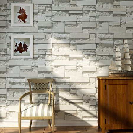 57sq.ft/393.7'' x 21'' Removable Waterproof 3DEmbossed Effect Brick Stone Modern Wall Paper Wall Sticker Wallpaper Roll Vinyl for Restaurant Hotel Living Room TV Background
