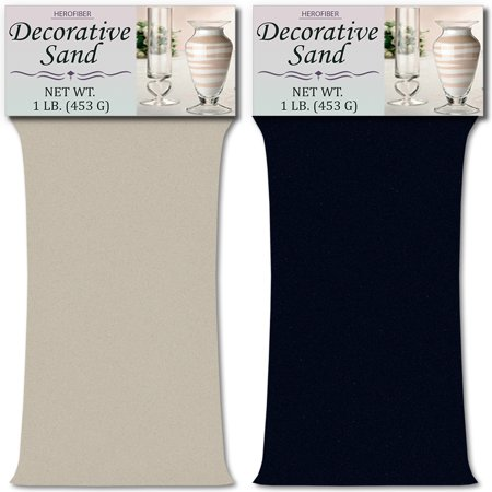 HeroFiber Colored Unity Sand (2 lbs.) - Silver and Navy Blue - 1 lbs. per Color - Decorative Art Sand for Weddings, Vase Filling, Kids' Craft Play](Navy Blue Sand)