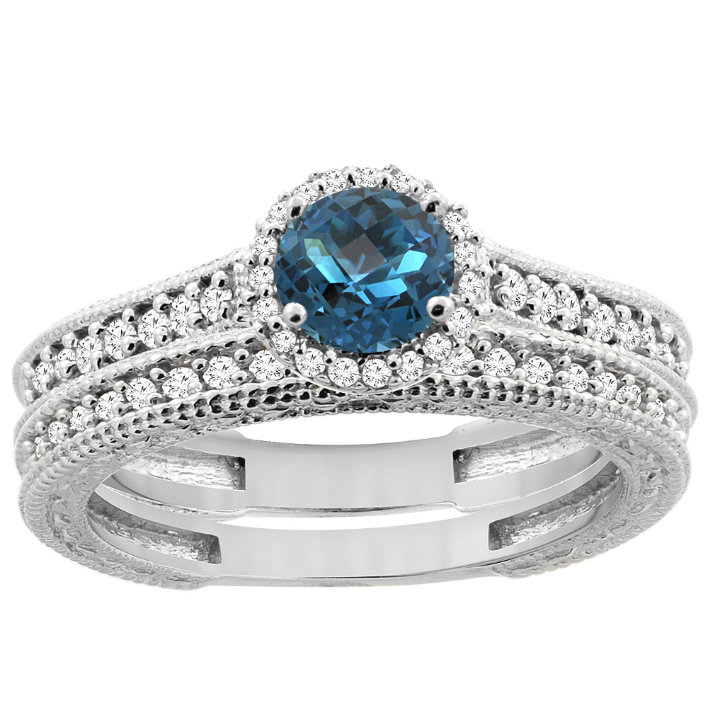 14K White Gold Natural London Blue Topaz Round 5mm Engagement Ring 2-piece Set Diamond Accents, size 6 by Gabriella Gold