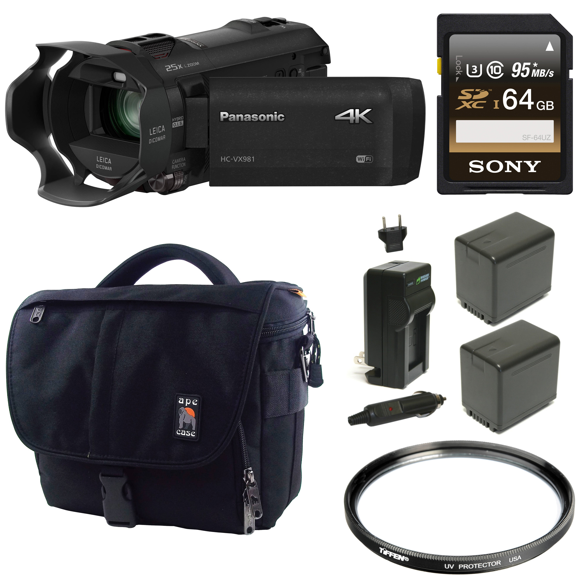 Panasonic HC-VX981K 4K Ultra HD Camcorder w/ Wasabi 2 Bat...
