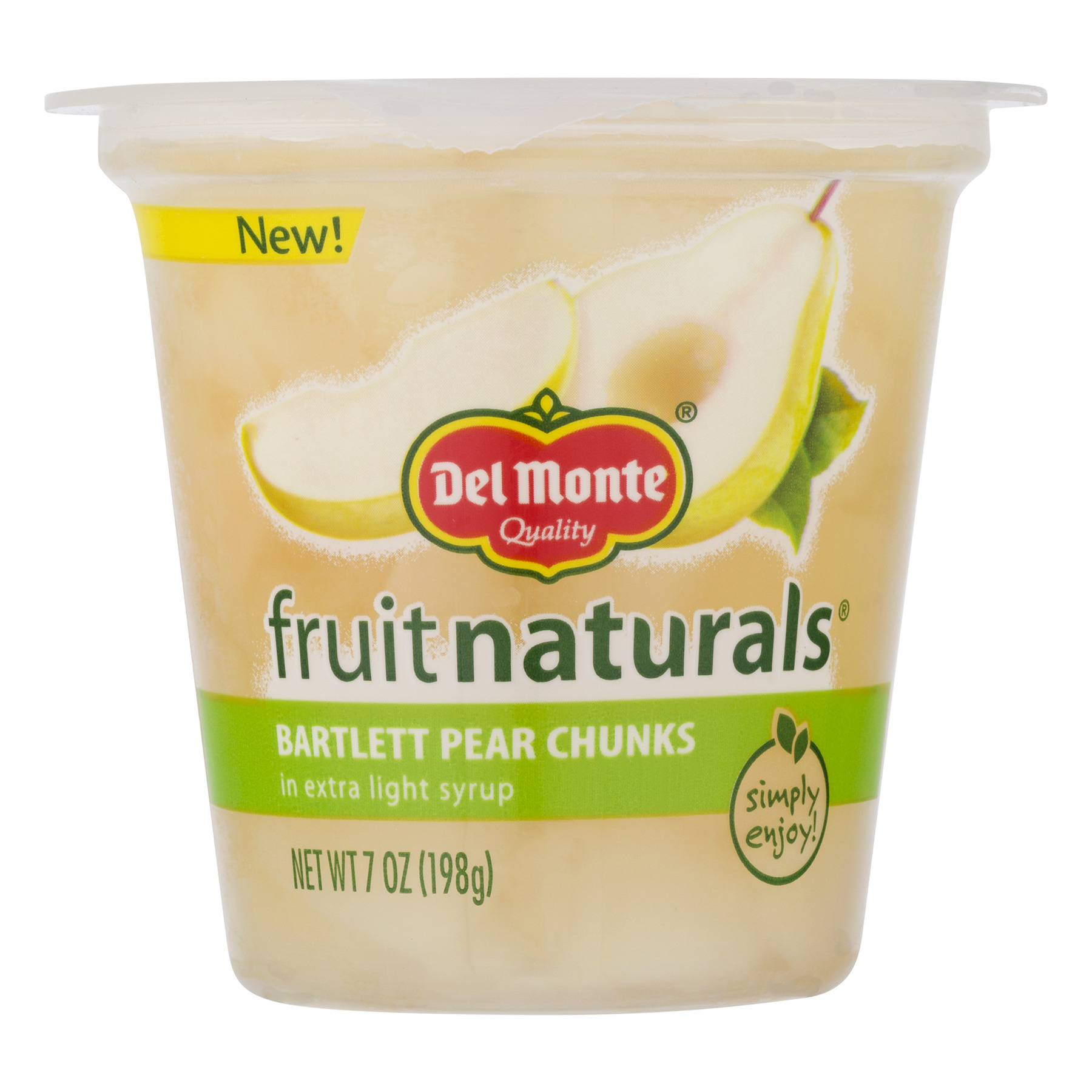 Del Monte Fruit Naturals Bartlett Pear Chunks in Extra Light Syrup 7 oz. Cup