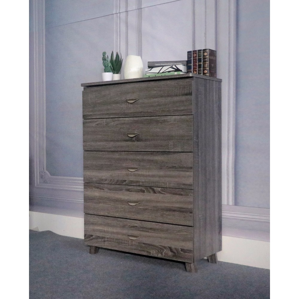 Capacious Gray Finish Chest With 5 Drawers On Metal Glides.
