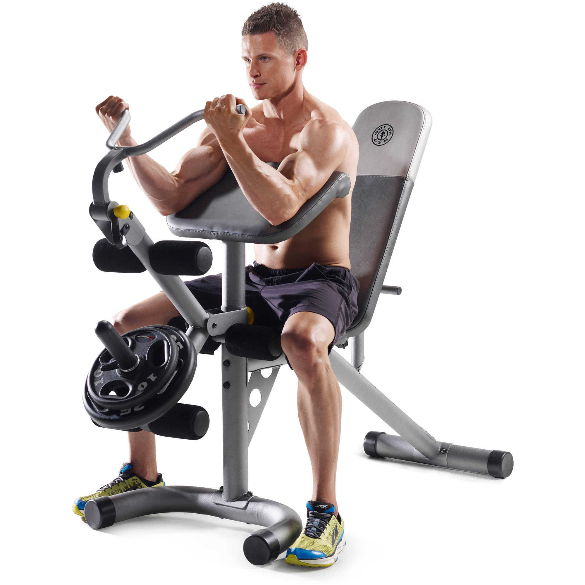 Gold s gym xrs olympic workout bench with removable preacher