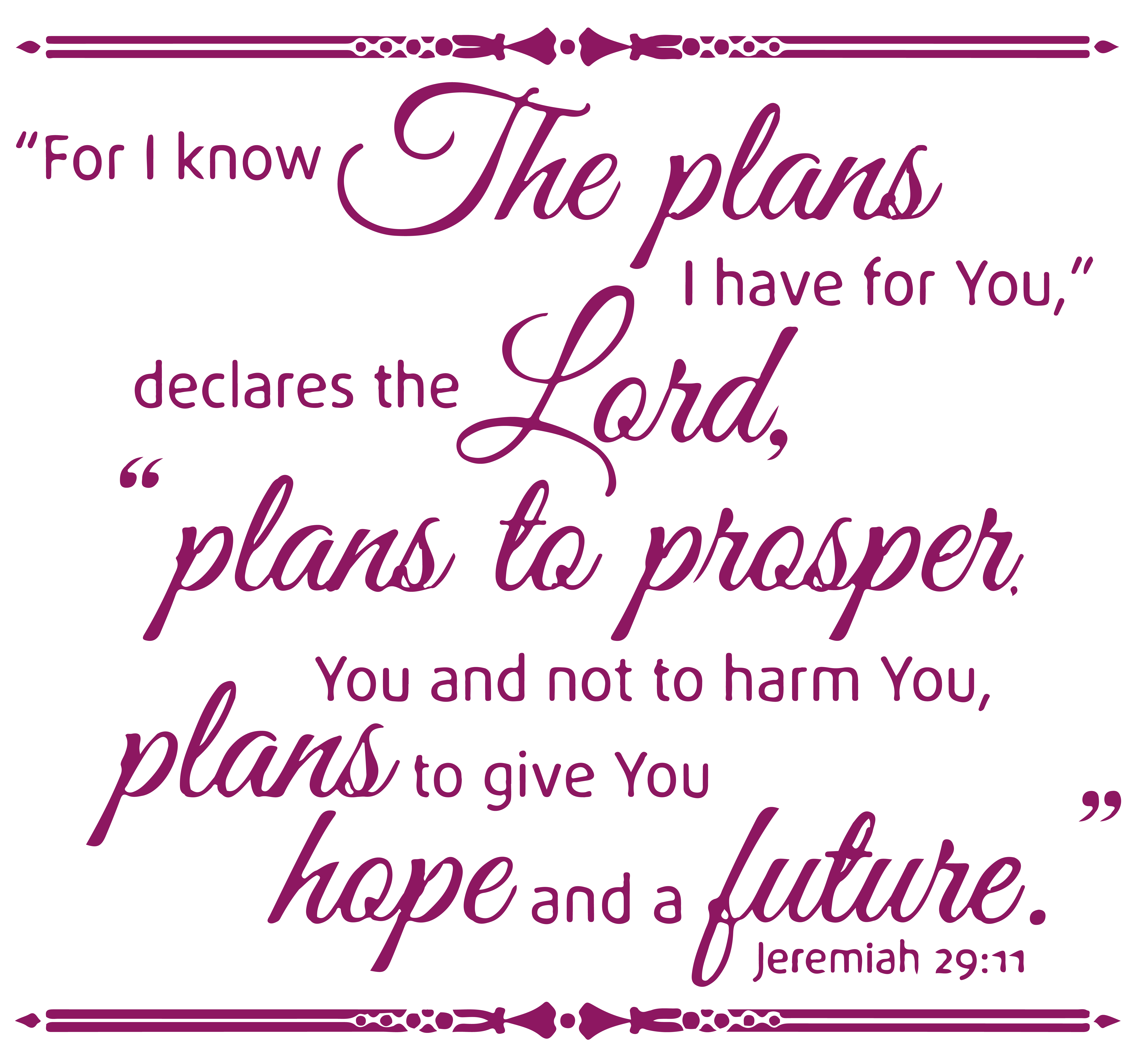Jeremiah 29:11 For I know the plans I have… Vinyl Decal Sticker Quote - Small - Green