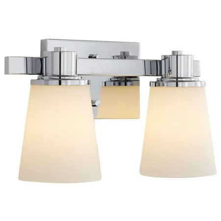 Home Decorators 2-Light Chrome Bath Vanity Light with Etched White (Chrome Etched Vanity)