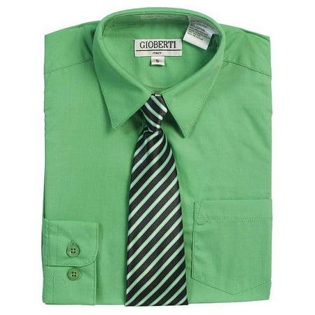 Green Button Up Dress Shirt Black Striped Tie Set Boys 5-18 (Dress Up Cute Boys)