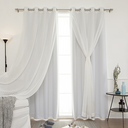 Vapor Sheer and Solid 84 x 52 In. Blackout Window Treatments, Set of Four