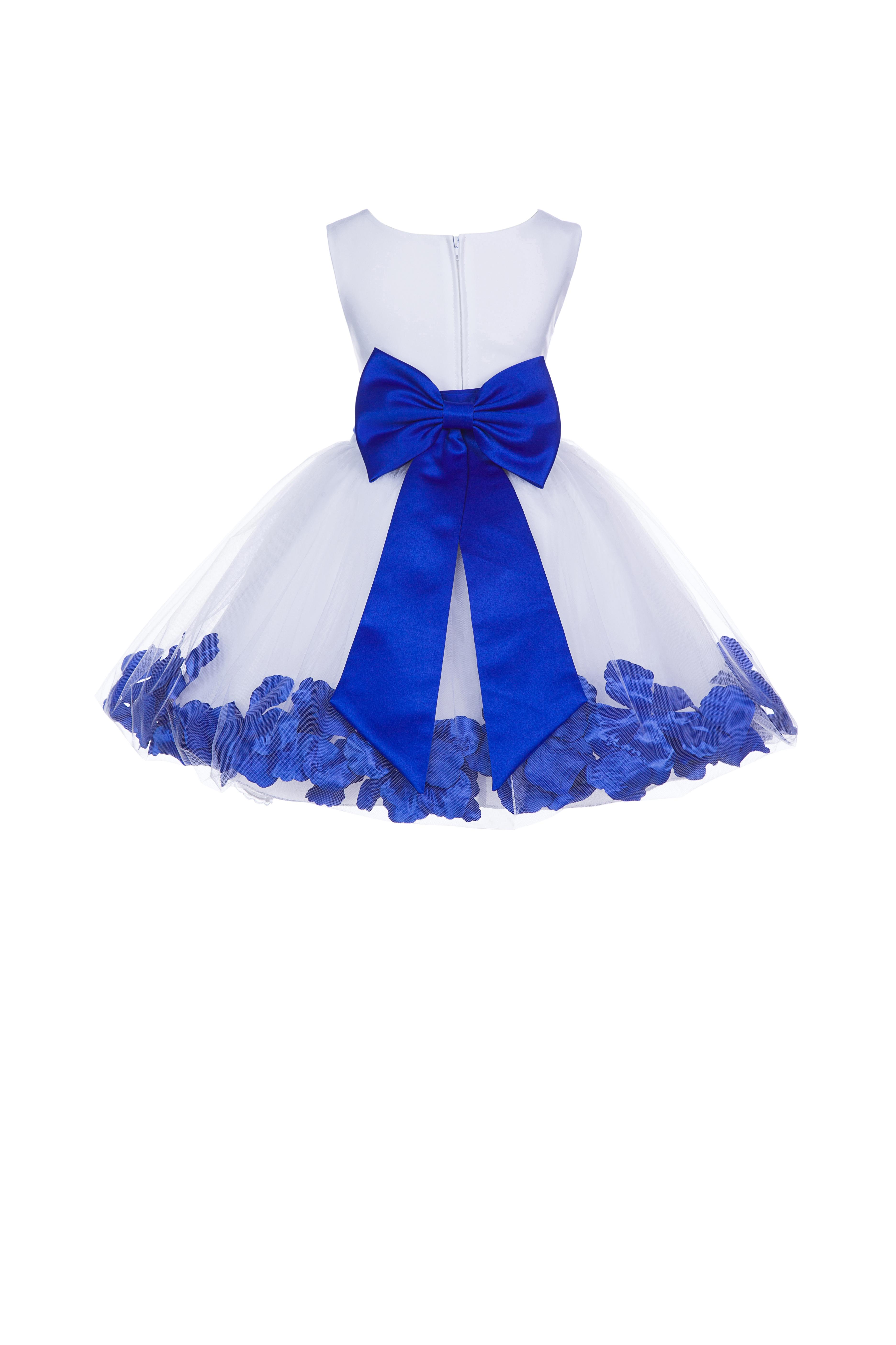 Ekidsbridal Formal Satin Floral Rose Petals Tulle White Flower Girl Dress Bridesmaid...