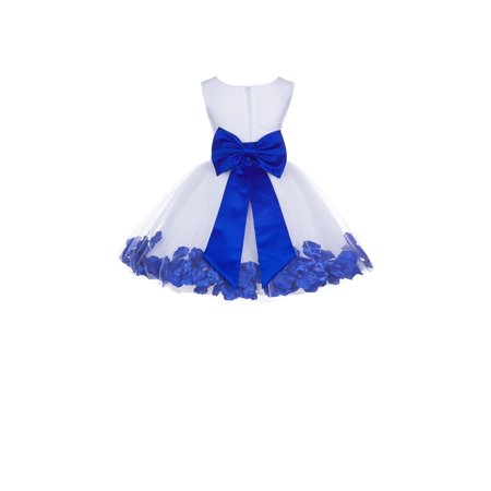 Ekidsbridal Formal Satin Floral Rose Petals Tulle White Flower Girl Dress Bridesmaid Wedding Pageant Toddler Recital Holiday Reception Ceremony Communion Birthday Baptism Occasions 306T - Cute Holiday Dresses For Girls