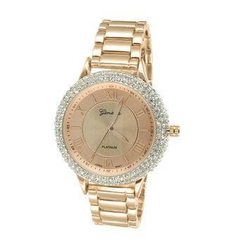 - Lab Created Cubic Zirconia Bezel Watch Rose Gold Finish Mens Womens Round Face Platinum