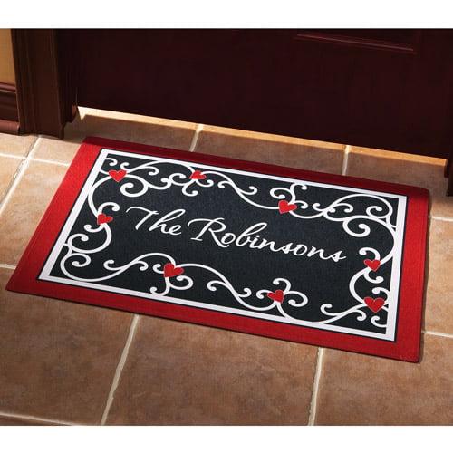 Personalized Scroll Heart Doormat