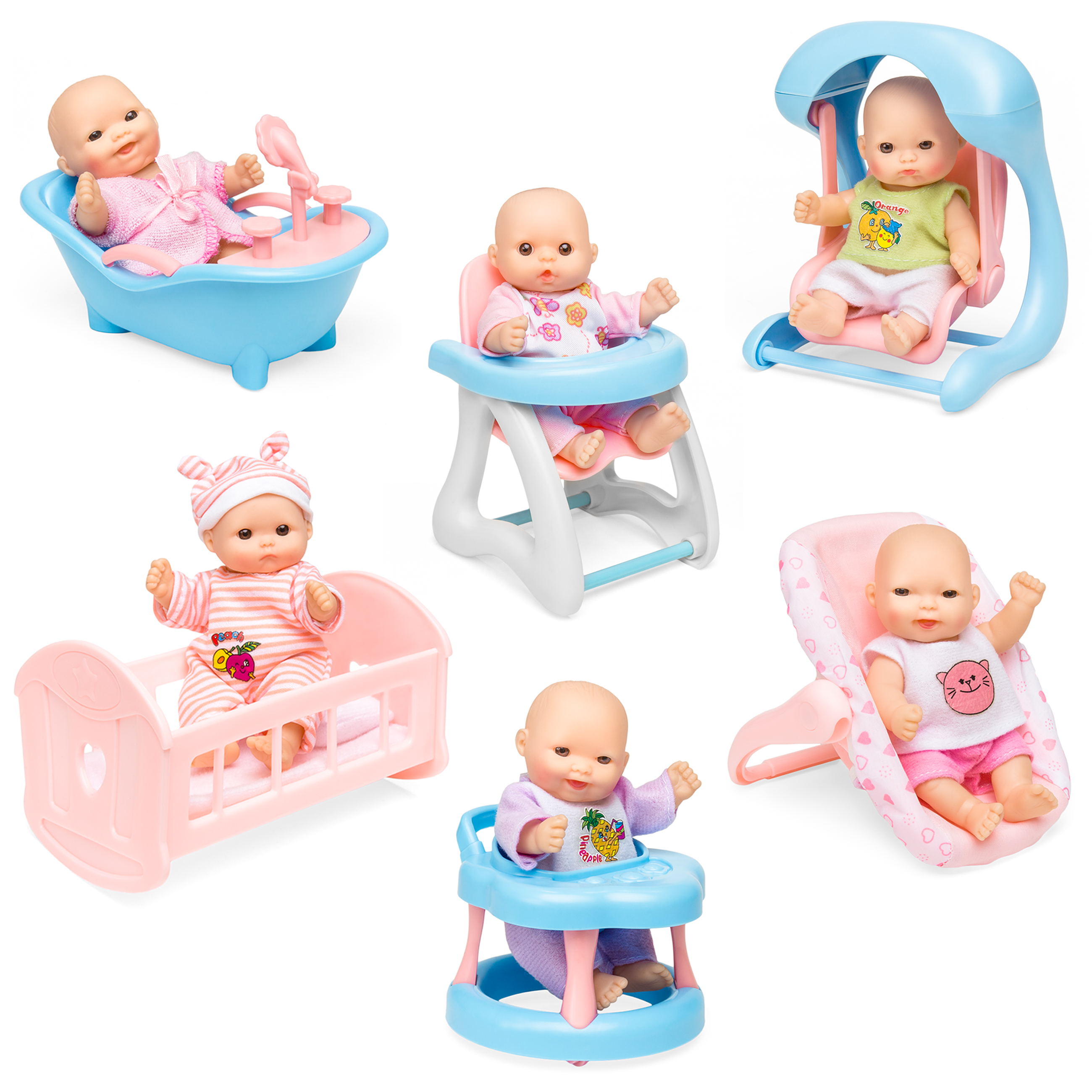 Best Choice Products Set of 6 Mini Baby Dolls Toy w/ Cradle, High Chair, Walker, Swing, Bathtub, Infant Seat