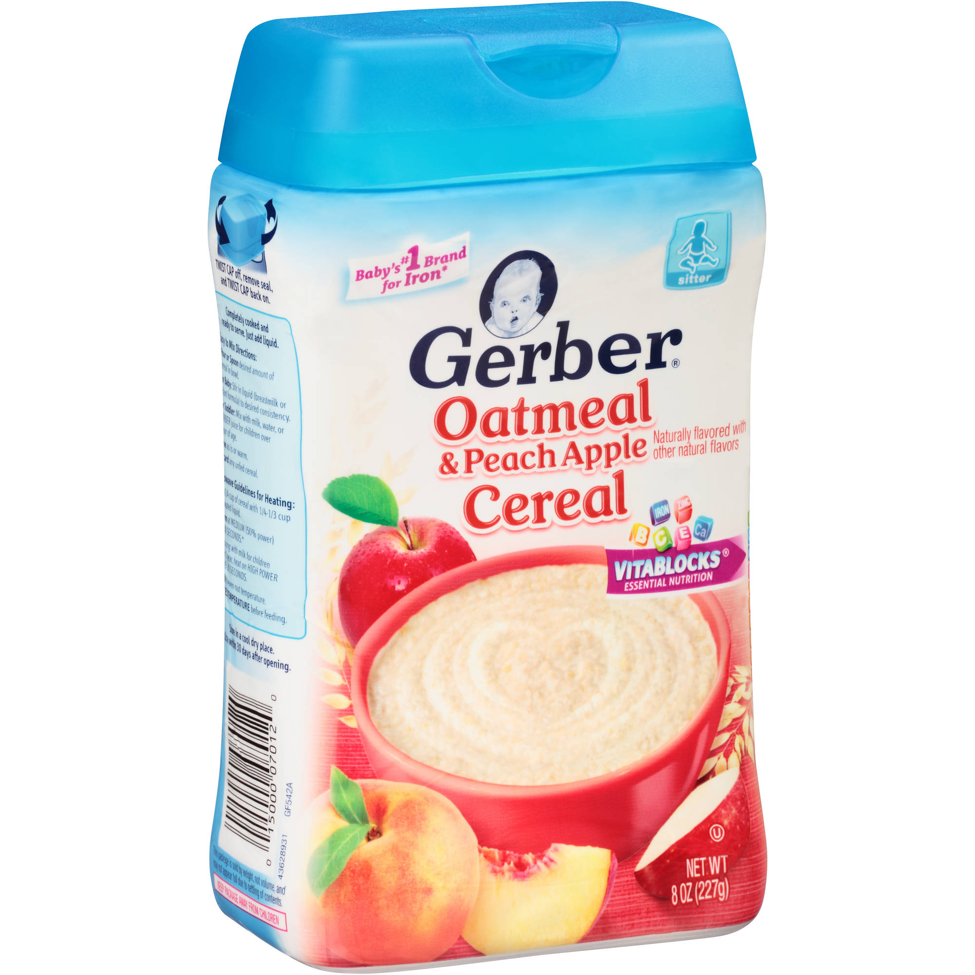 Gerber Oatmeal and Peach Apple Baby Cereal, 8 Ounce
